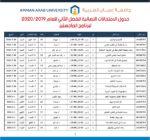 جدول الامتحانات النهائية للفصل الثاني للعام الدراسي 2019 – 2020 لبرنامج الماجستير